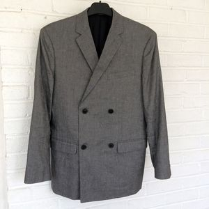 Theory Gray Linen Blend Double Breasted Blazer 36R